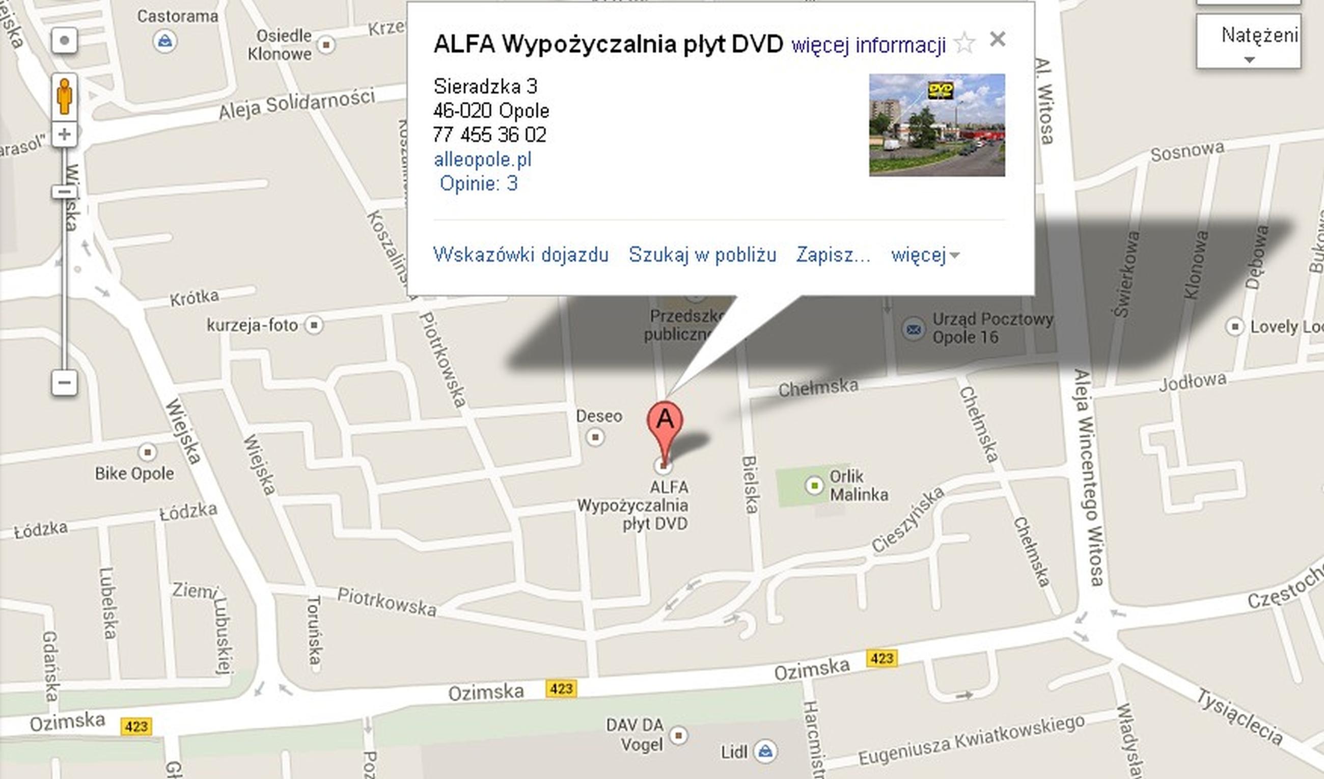 Mapa dojazdu Google
